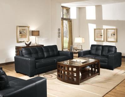 Baxton Studio Whitney Black Leather Modern Sofa Set