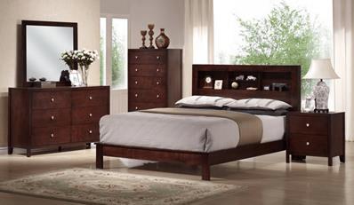 Studio montana mahogany brown wood 5 piece queen modern - Mahogany bedroom furniture contemporary ...